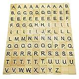 IRYNA Juego de mesa 100 piezas de manualidades, colgantes, ortografía y álbumes de recortes de madera, coloridos azulejos de Scra-bble Letras para manualidades de madera