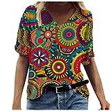 Tops for Women Summer Tees Casual Elegant Floral Printed Short Sleeve V-Neck T-Shirt Loose Shirt Basic Tunic Blouse