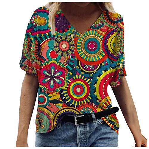 manadlian Chemisier Femme Printemps Eté T-Shirt Décontractée Tops Chic Col en V Sweat-Shirt Mode Manches Courte Imprimé Fleur Blouse Mode Tunique 2021 Nouveau