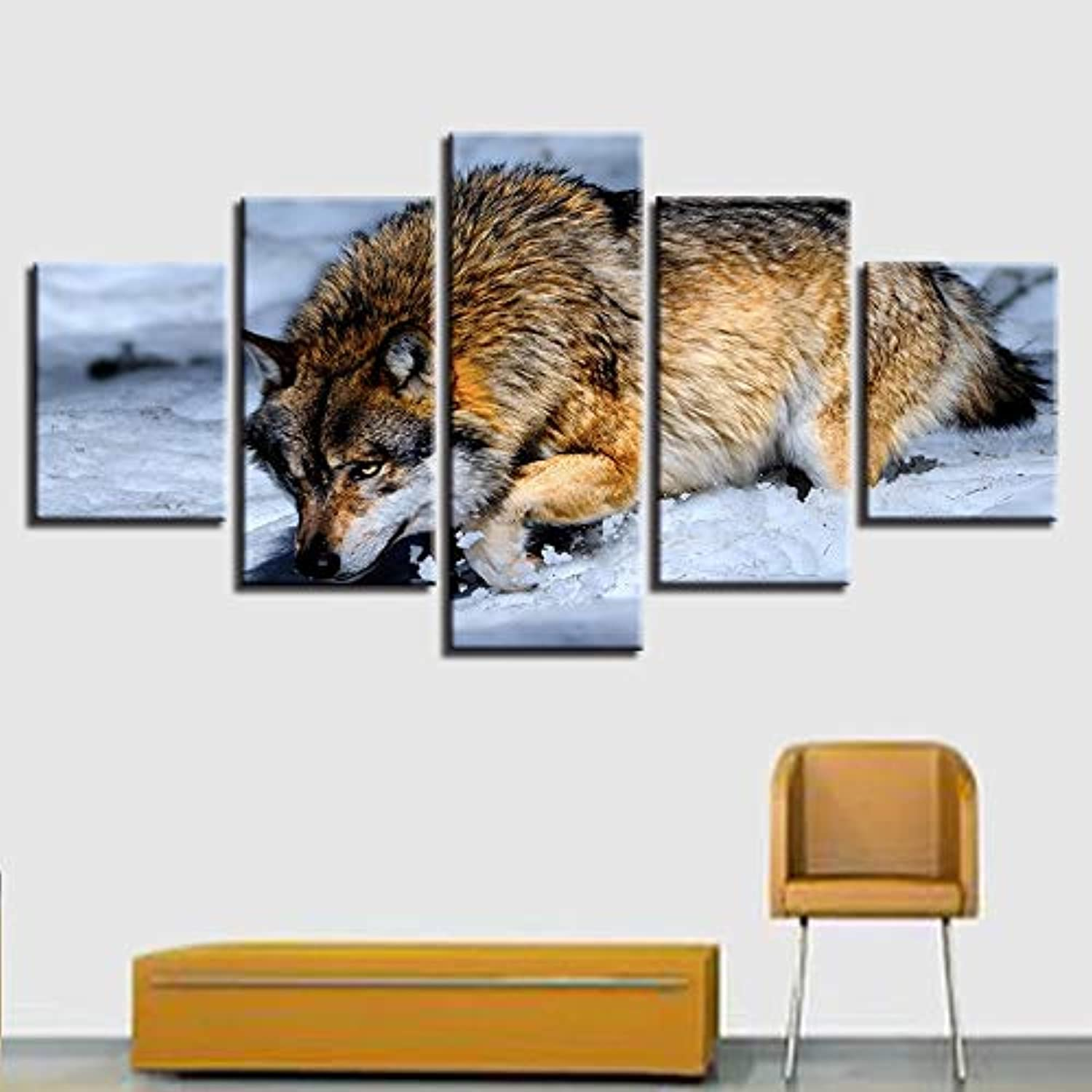 Canvas Painting Modular Pictures Wall Art Home 5 Panel Animal Snow Wolf Decoration for Living Room Modern Printing Type