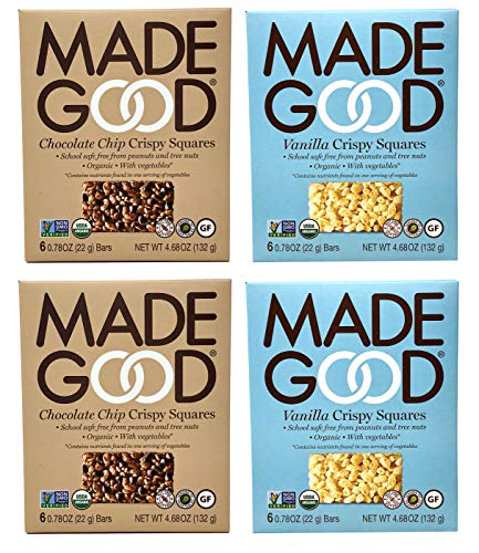 Made Good Organic Crispy Squares Variety Pack of 4 – Vanilla and Chocolate Chip Crispy Squares - Tree-Nut and Peanut-Free, Gluten-Free, Vegan, Kosher (12 Squares Per Flavor)