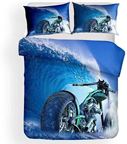 dsgsd Impresión Creativa en una Funda nórdica de Gran tamaño. Motocicleta Creativa Verde Marino Genial 150x220cm Juego de Ropa de Cama Funda de edredón Sábana Fundas de Almohada Juego de Ropa de Cama