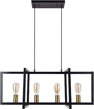 bgLight Modern Kitchen Island Light Fixture, 4-Light Industrial Dining Room Ceiling Chandelier Light, Matte Black with Warm B