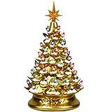 Goplus Pre-Lit Hand-Painted Ceramic Christmas Tree, Tabletop Xmas Decor, with 66...