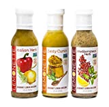 LEMONETTE Sugar Free, Low Cal, Low Fat Salad Dressing: Harvest Variety Pack (3) 12oz Bottles - Paleo, Keto & Whole30, Gluten Free, Vinegar Free, Soy Free, Dairy Free, Canola Free, Vegan