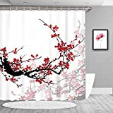 LIVILAN Cherry Blossom Duschvorhang-Set mit 12 Haken Red Cherry Blossom