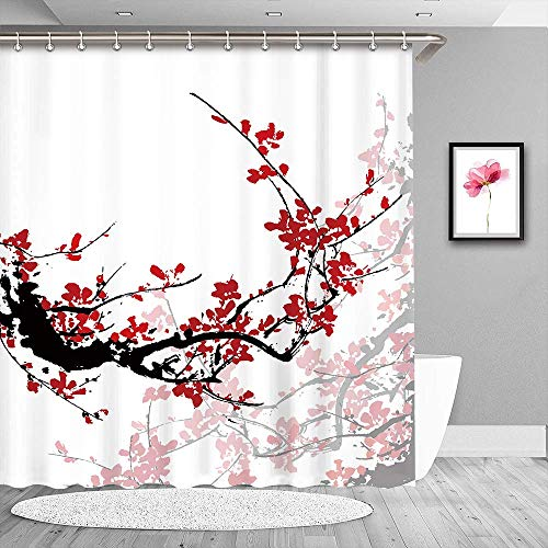 LIVILAN Cherry Blossom Shower Curtains Set with 12 Hooks Red Shower Curtain for Bathroom Winter Shower Curtains Plum Shower Curtain Japanese Shower Curtain(70.8x70.8)
