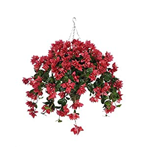 House of Silk Flowers Artificial Watermelon Bougainvillea in Beehive Hanging Basket