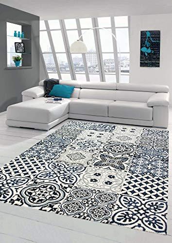 Merinos Teppich mit Fliesen Muster Wohnzimmer Teppich modern in Blau Grau Größe 160x230 cm