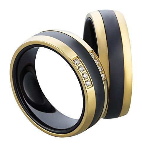 frencheis Eheringe Trauringe Verlobungsringe Partnerringe Ringe aus Keramik mit gratis Lasergravur 3125