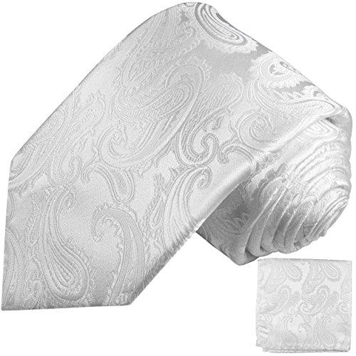 P. M. Krawatten Weißes Krawatten Set 2tlg paisley Seidenkrawatte + Einstecktuch Paul Malone