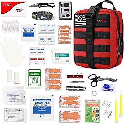 I GO Survival First Aid Kit, 251 Pieces Compact Tactical Trauma First Aid Bag, Molle Compatible Emergency Pouch for Outdoor Camping Hiking Backpacking and Travel, Red