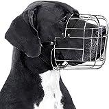 BRONZEDOG Metal Wire Basket Dog Muzzle Great Dane Mastiff Leather Adjustable Muzzles for Large Dogs (XL)