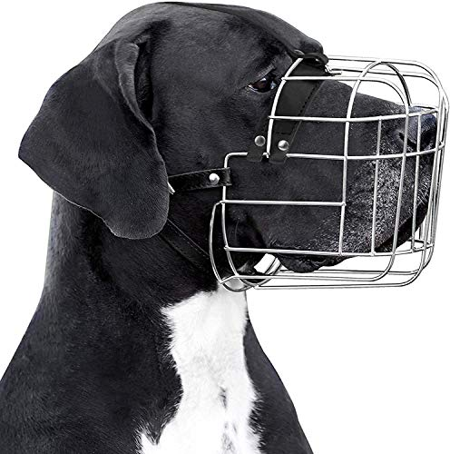 BRONZEDOG Metal Wire Basket Dog Muzzle Great Dane Mastiff Leather...