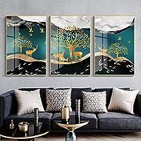 ポスター現代キャンバス絵画青写真壁アート抽象的な黄金の鹿の魚の風景リビングルームの家の装飾(50x70cm)x3フレームなし