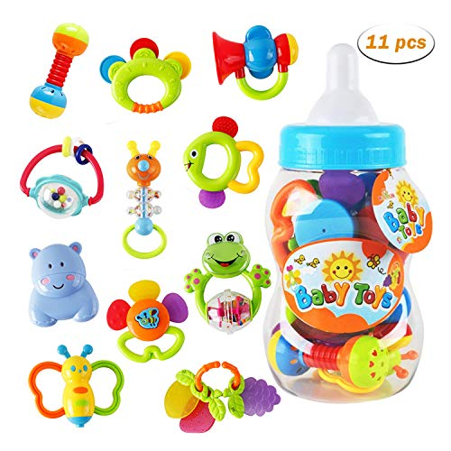 Lowest Price! WISHTIME Baby rattles teethers for Newborn Toys,Gifts for Infants 11pcs with Hand Deve...