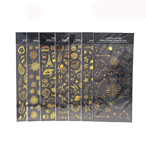 YFaith Álbum de Fotos de Bricolaje ParaHacer 7 Pegatinas de Estampado en Caliente Para Cuaderno de Calendario. hay Varios Patrones Exquisitos.