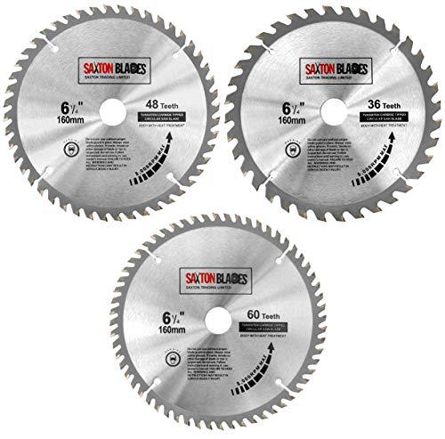 TCT160MXC Saxton TCT - Hojas de sierra circulares para madera (160 mm x 20 mm, para Festool TS55 Bosch Makita (paquete de 3)
