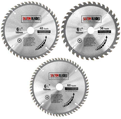 TCT160MXC Saxton TCT Kreissägeblätter, 160 mm x 20 mm, für Festool TS55 Bosch Makita (3 Stück)