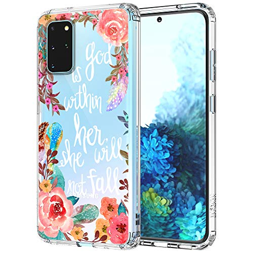 MOSNOVO Galaxy S20 Plus Case, Floral Flower with Christian Quotes Pattern Clear Design Transparent Plastic Hard Back Case with TPU Bumper Protective Case Cover for Samsung Galaxy S20 Plus