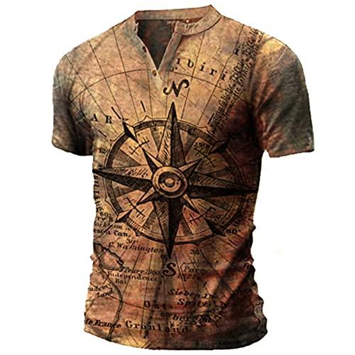 Camiseta Estampada Vintage para Hombre Camiseta de Motociclista con Cuello en V Camisetas de Verano de Manga Corta