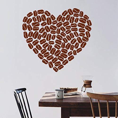 XCSJX Kaffeebohne Herz Wandtattoo Pause Zeit Café Restaurant Innenarchitektur Wandbild Vinyl Wandaufkleber Fenster Glas Aufkleber Kunst 45x48cm