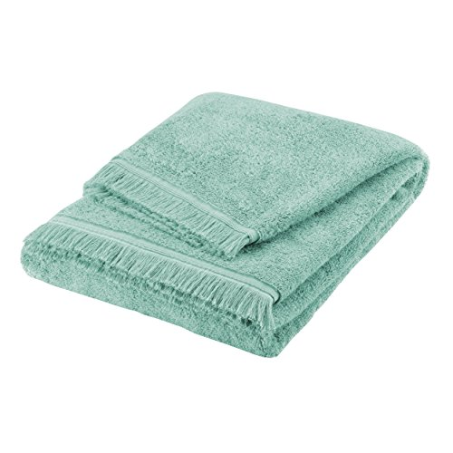 BLANC CERISE Serviette de Bain - 100% Coton peigné Longues Fibres 550 g/m² - Vert d'eau 50x90 cm