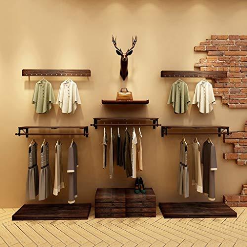 WI Hölzerne Haushalts-Aufhänger, Wand-Aufhänger, Retro- Kiefern-Holz-Kleidungs-Speicher-Ausstellungsstand-Wand-hängendes Hängen - Aufhänger-Kleidungs-Regal, Wand-Tür-Rückseiten-Mantel-Zahnstange,70cm
