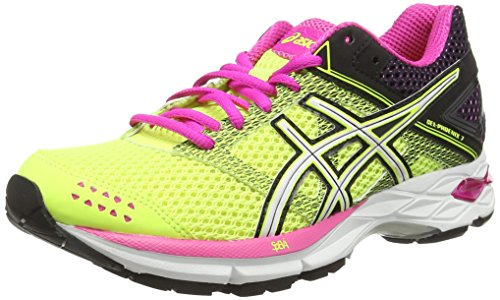 ASICS Gel-Phoenix 7 - Zapatillas de Running para Mujer, Color Amarillo (Flash Yellow/White/Pink Glow 0701), Talla 39.5