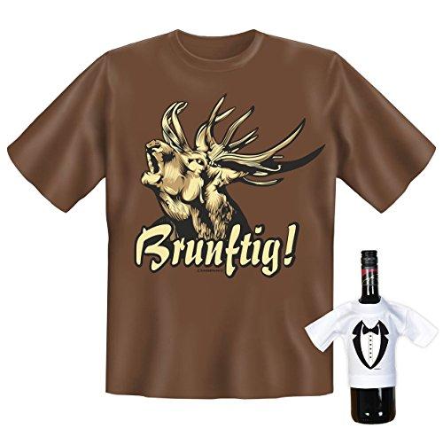 """orginelles und witziges T-shirt Set zum Thema : Hobby Freizeit \"""" Brunftig!\"""""""