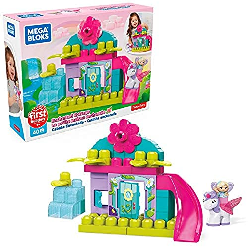 Mega Bloks First Builders Enchanted Cottage with Big Building Blocks, Building Toys for Toddlers (40 Pieces)