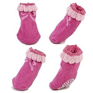 Generic Chien Chiot Cat Chaussettes d'Hiver Chaudes Chaussures Pantoufles Antidérapantes avec Impressions Mignonnes