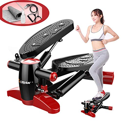 Fitness Twist Stepper, Mini Stepper Twisting Machine met krachtige dubbele hydraulische boost, armweerstand trainingsbanden, voor thuis training en lichaamsbeweging
