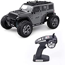 Roadwi Remote Control Car, Rechargeable 1:14 Full Scale, 2.4 GHz, High Speed Model Crawler with Electric, Glory Rear Straight Axle Off-Road SUV, RC Hobby Toy Truck for Kids and Adults (Gray)