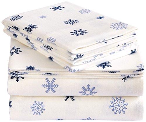 Pinzon Cotton Flannel Bed Sheet Set - Queen, Falling Snowflake Blue