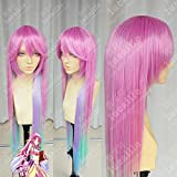 Dsnmm Anime No Game No Life Jibril Cosplay Wig Long Rainbow Gradient Heat Resistant Synthetic Hair Wigs + Wig Cap