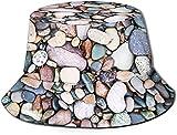 KEROTA Sombrero de pescador con estampado de guijarros de playa, sombrero de pescador, protección solar al aire libre, para pesca de viaje, unisex.