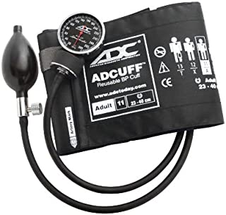 ADC Diagnostix 720 Pocket Aneroid Sphygmomanometer with Adcuff Nylon Blood Pressure Cuff, Adult, Black
