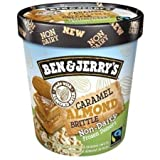 Ben & Jerry's - Non-Dairy Frozen Dessert, Non-GMO - Fairtrade - 100% Certified Vegan - Made with Almond Milk - Responsibly Sourced Packaging, Caramel Almond Brittle, Pint (8 Count)