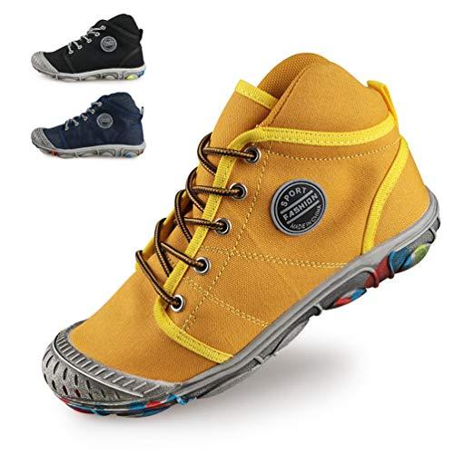 DUORO Jungen Schnürhalbschuhe High-Top Kinderschuhe Ultraleicht Atmungsaktiv Hallenschuhe Outdoor Sportschuhe Sneakers (30 EU, Gelb)