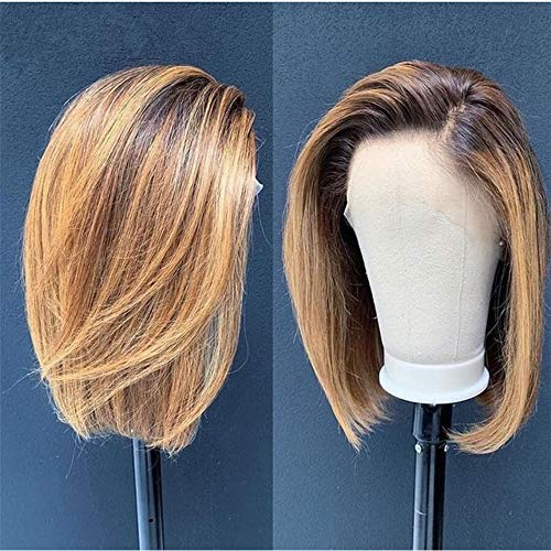 ANDRIA 12 Inch Short Bob Wigs Lace Front Wigs Dirty Blonde Wig Ombre Blonde Straight Bob Glueless Full Wigs For Black Women Synthetic Natural Straight Wig Heat Resistant Fiber Hair Wig With Baby Hair