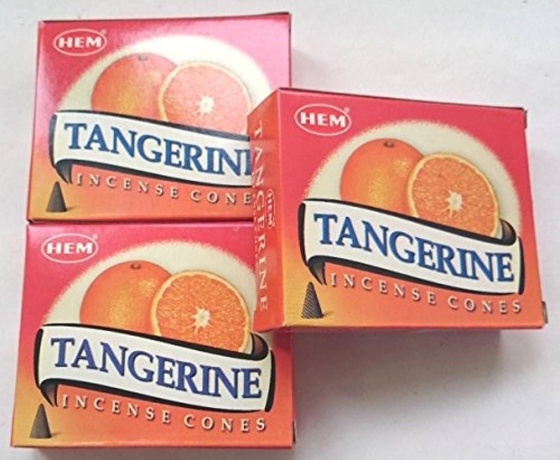 滴下一般化する唯一HEM(ヘム)お香 タンジェリン(オレンジ) コーン 3個セット