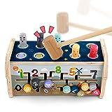 Fajiabao Jeux Montessori Banc à MartelerJouet en Bois avec Xylophone & Jeu de Labyrinthe 3 in 1 Jouets Marteau Bois Jeux Éducatifs pour Garçons Filles 3 4 5 Ans
