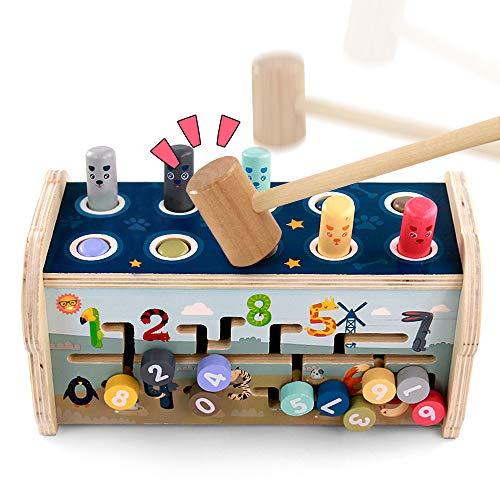 Fajiabao Montessori Juguetes Madera de Banco de Martillo Herramientas Juguete Madera con Xilófono y Laberinto Juego 3 en 1 Juegos Educativos para Niños Niñas 2 3 4 5 Años