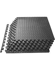 ProSource GsxOfG pussel träningsmatta, EVA skum sammankopplade plattor, skyddande golv för gymutrustning och kudde för träning, 24 kvadratfot, grå (4-pack)