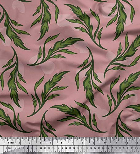 Soimoi Rosado saten de seda Tela artístico hojas estampada de tela por metro 42 Pulgadas de ancho