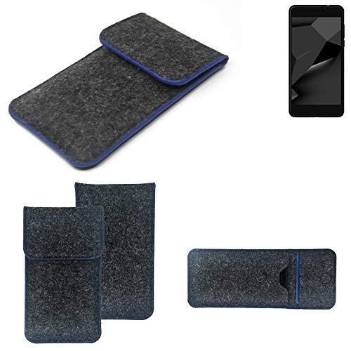 K-S-Trade Handy Schutz Hülle Für Blaupunkt SL Plus 02 Schutzhülle Handyhülle Filztasche Pouch Tasche Hülle Sleeve Filzhülle Dunkelgrau, Blauer Rand