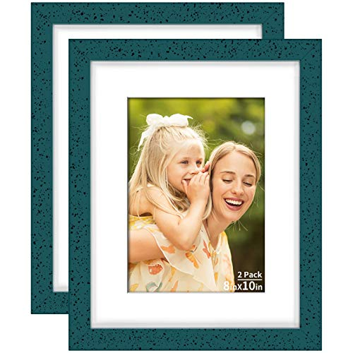 Yome 2 Pack 8x10 Blue Picture Frames with Mats, Photo Frames Set for Wall or Tabletop Display Pictures, Perpetuate Your Memories, Solid Wood and Plexiglass Dining Features Frames Kitchen Tabletop Wall