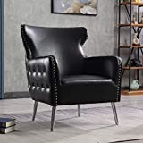 Eaton Wingback Tub Chair – Traditional Buttoned Armchair Occasional Accent Chair - Bedroom and Living Room Chair - Faux Leather Black