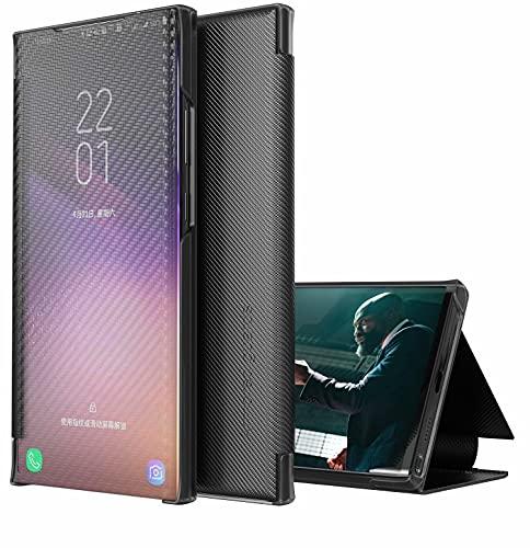 TYWZ Hülle für Samsung Galaxy Note 20 Ultra,Flip Transluzent View Mirror Spiegel Schutzhülle Intelligenten Tasche Standfunktion Smart Cover-Schwarz